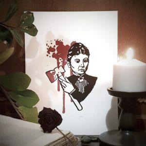 Lizzie Borden Linogravure